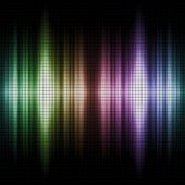 Colorful sound waves with grid pattern
