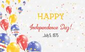 Cape Verde Independence Day Greeting Card. Flying Balloons In Cape Verde National Colors. Happy Inde poster