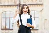 Welcome Back To School. School Girl Formal Uniform Hold Book. Towards Knowledge. Students Life. Scho poster