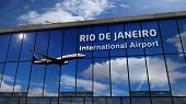 Jet Aircraft Landing At Rio De Janeiro, Brazil 3d Rendering Illustration. Arrival In The City With T poster