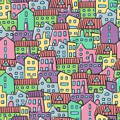 House Seamless Pattern. Doodle Vector Pattern With Different Houses. Village Texture Cartoon Style I poster
