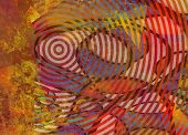 Abstract composition. Concentric circles. Mondrian style. 3D rendering poster