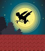 picture of karate kid  - Illustration of kicking child over moon  - JPG