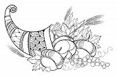 Vector Outline Cornucopia Or Horn Of Plenty Full Of Pumpkin, Grape, Wheat And Maple Leaf In Black Is poster