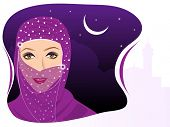 Portrait of muslim beautiful girl in hijab on night background and space for your text. EPS 10. Vector illustration.