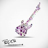 Colorful guitar decorated with floral and musical notes with copy space isolated on white background
