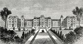 Vassar College - a prestigious women's college in Poughkeepsie, NY. Engraving by  Shliper. Published