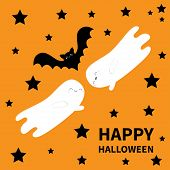 Happy Halloween. Two Flying Bat Ghost Spirit. Black Stars Silhouette. Cute Cartoon Character With Bi poster