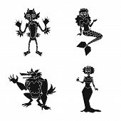 Isolated Object Of Creature And Devilry Icon. Collection Of Creature And Halloween Vector Icon For S poster