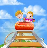 Children Riding On A Roller Coaster Ride At A Theme Park Or Amusement Park poster