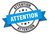 Attention Label. Attention Blue Band Sign. Attention poster
