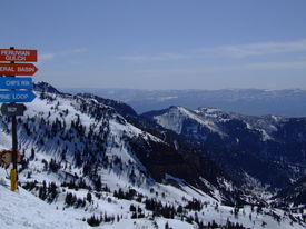 stock photo of snowbird  - View of the Wasatch mountains from the top of Snowbird resort - JPG