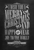 Vintage Merry Christmas And Happy New Year Calligraphic And Typographic Background With Chalk Word A