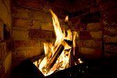 Firewood Burn In Furnace