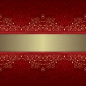 Template With Ornate Floral Seamless Pattern On A Red Background
