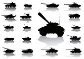 stock photo of abram  - Tanks detailed silhouettes set - JPG