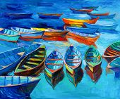 image of acrylic painting  - Original oil painting of boats and sea on canvas - JPG
