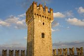 The Tower Of Scaliger Fortress In Sirmione