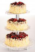 Almendra de pastel de tres pisos con frutos rojos, postres de la celebración de la boda