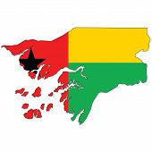 Country outline with the flag of Guinea Bissau