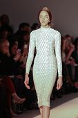 NEW YORK - FEBRUARY 12: Model walks the runway for the Jenny Packham   collections Mercedes-Benz Fas