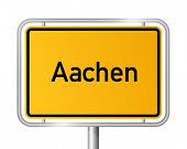 City limit sign Aachen against white background - signage - North Rhine Westphalia, Nordrhein Westfa