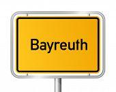 City Limit Sign Bayreuth vor weißem Hintergrund - Signage - Bayern, Bayern, Deutschland