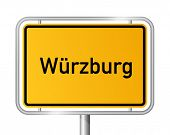 City limit sign Wuerzburg against white background - signage Wurzburg - Bavaria, Bayern, Germany