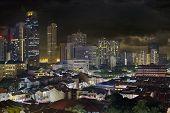 Singapore Skyline And Chinatown Cityscape