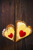 Heart Sandwich Shape Wood Board Peppers Food