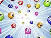 picture of starburst  - Illustration of Bingo balls over a blue starburst background - JPG