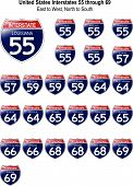 Estados Unidos signos interestatal I-55 a 69