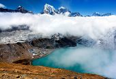 Dudh Pokhari lake, Gokyo, Arakam Tse peak, Chola Tse peak and Ngozumba glacier - way to Cho Oyu base