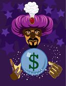 stock photo of fortune-teller  - Fortune teller wearing large purple turban - JPG
