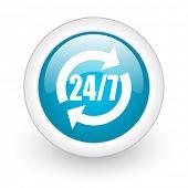 24/7 service blue circle glossy web icon on white background