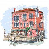 Venetië - Canal Grande. Oude gebouw & gondel. Vector schets. Eps10