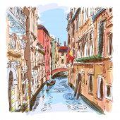 Venetië - water kanaal, oude gebouwen & weg gondel. Vector tekening. Eps10