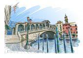 Venetië - Canal Grande. Uitzicht op de Rialtobrug. Vector tekening. Eps10