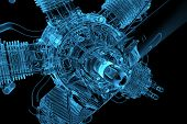 3D rendered blue transparent glowing engine