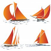 Simple Vector Group Of Boat With Orange Sails.