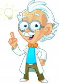 stock photo of einstein  - Vector Illustration of a Professor Mascot with Bright Ideas in His Mind - JPG