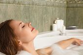 Woman In Bath Relaxing