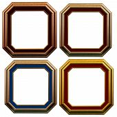 stock photo of octagon  - Set of octagonal wooden frame isolated on white background with clipping path - JPG