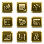 Banking  web icons, square brown buttons