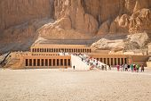 LUXOR, EGYPT - APR 10: Unidentified tourists at The Mortuary Temple of Queen Hatshepsut located near
