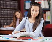 Portrait of beautiful teenage schoolgirl with books at table sitting in library