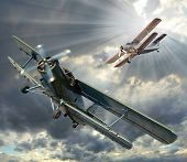 image of propeller plane  - Retro style picture of the biplanes - JPG