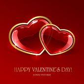 stock photo of two hearts  - Red valentines background with two glossy hearts - JPG