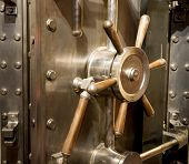 Front Of Bank Vault Massive Door Handle Combination Lock Dial