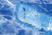ice of Baikal lake in winter